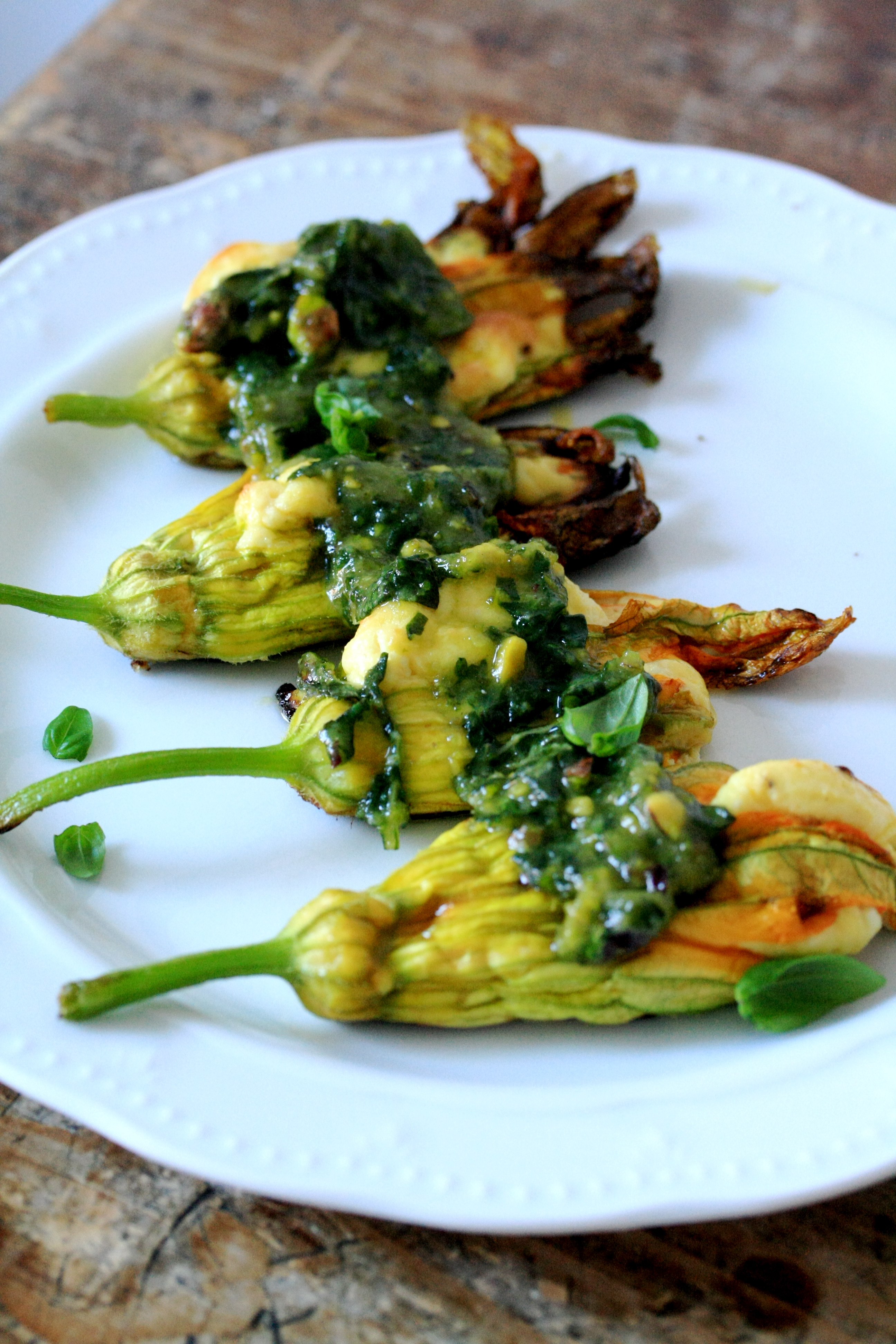 These Are Ricottastuffed Zucchini Flowers With Pesto, And I Highly  Recommend You Make Them For Your Next Lunch In Italy, Zucchini Flowers Are  Widely